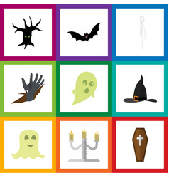 flat icon celebrate set of phantom superstition vector image vector image