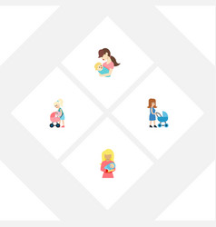Flat icon parent set of perambulator child kid vector