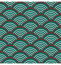 Green Red White Traditional Wave Japanese vector image vector image