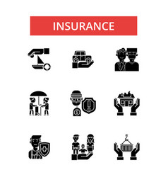 insurance thin line icons linear vector image