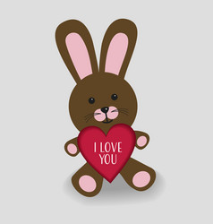 pink bunny with heart i love you vector image vector image
