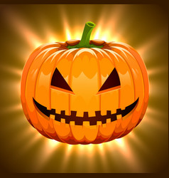 pumpkin for halloween on magic light background vector image