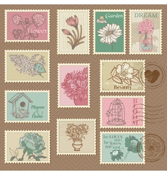 Retro Flower Postage Stamps vector image