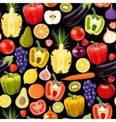 Seamless fruits and vegetables vector image vector image