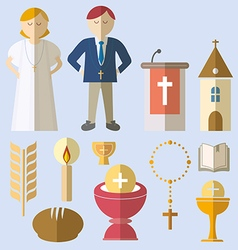 Set of design elements for First Communion vector image