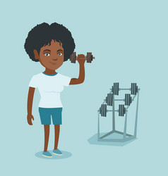young african-american woman lifting dumbbell vector image vector image