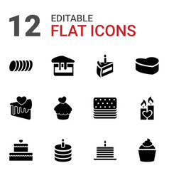 12 cake icons vector
