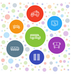 7 bus icons vector image