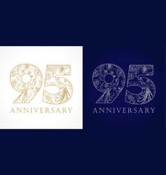 95 anniversary vintage silver gold vector