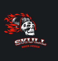 a skull with fire vector image