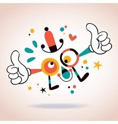 Abstract cartoon character mascot thumbs up vector