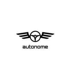 atonomy black steering wheel wings logo vector image