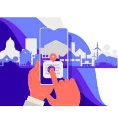 augmented reality amoeba style mobile app concept vector image