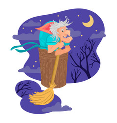 Baba yaga from russian fairy tales a terrible old vector
