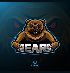Bear sport mascot logo design vector