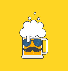 beer mug with sunglasses and a mustache vector image
