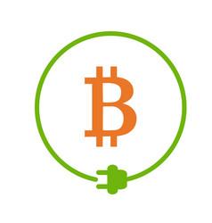 Bitcoin mining icon vector
