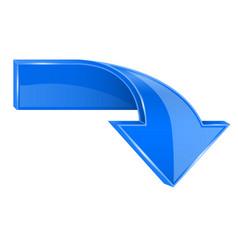 blue down 3d button vector image