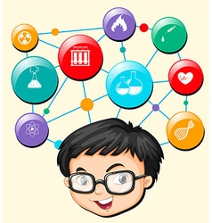 Boy with glasses and science symbols vector