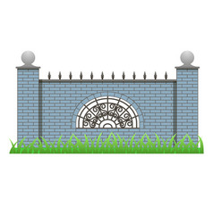 Brick fence with pillars and decorative grille vector