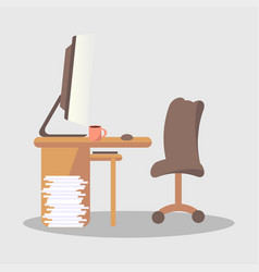 brown computer cup with drink on desk in office vector image
