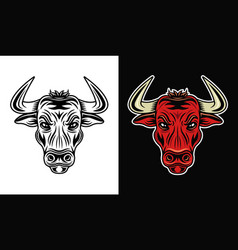 bull head in two styles monochrome on white and vector image
