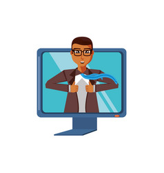 businessman unbuttoning his shirt in computer vector image