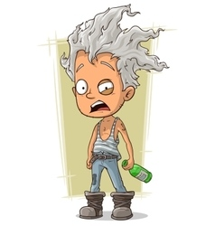 Cartoon crazy old man with gray hair vector