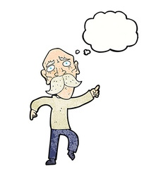 Cartoon sad old man pointing with thought bubble vector