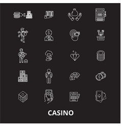 casino editable line icons set on black vector image
