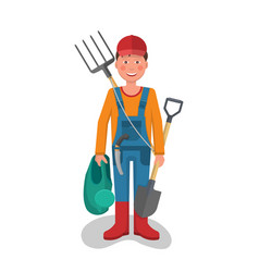 cheerful young gardener vector image