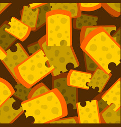 cheese piece seamless pattern 3d yellow dairy vector image
