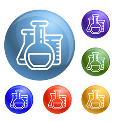 chemistry flask icons set vector image