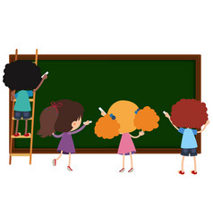children writing on chalkboard vector image