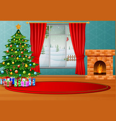 Christmas interior of room with winter landscape vector