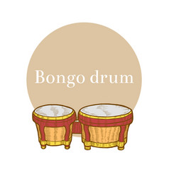 Colored bongo in hand-drawn style vector