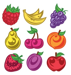 Colorized Stylized Fruit Icons vector image