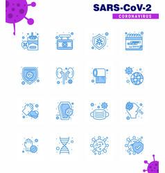Corona virus 2019 and 2020 epidemic 16 blue icon vector