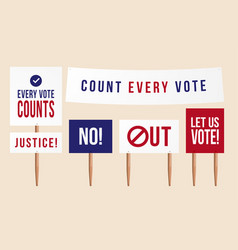 count every vote politic set protest picket vector image