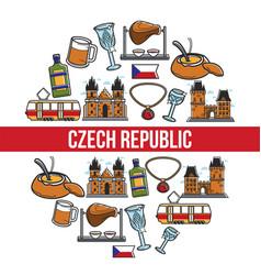 czech republic famous landmarks poster vector image