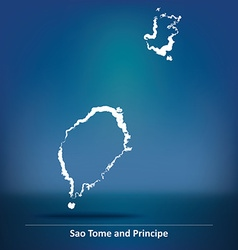 Doodle Map of Sao Tome and Principe vector image