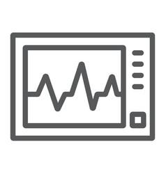 Ecg machine line icon medicine and cardiology vector