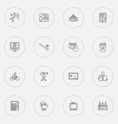 Entertainment icons line style set with coffee vector