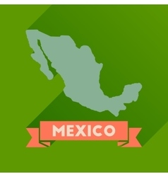 Flat icon with long shadow map of Mexico vector