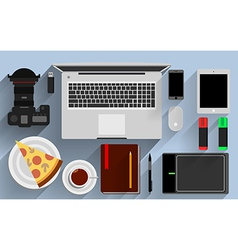 Flat office workplace environment tools essentials vector