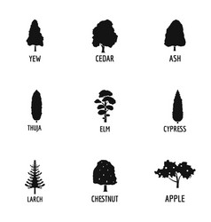 forest industry icons set simple style vector image