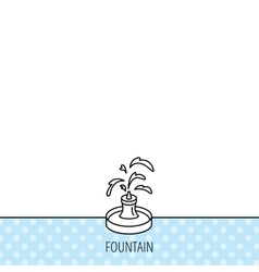 Fountain icon Water in park sign vector