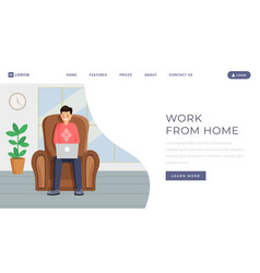 Freelance outsource job landing page template vector