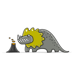 Funny dinosaur childish style sketch for your vector