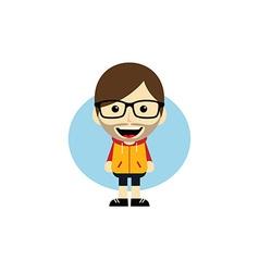 geek cartoon nerd character vector image